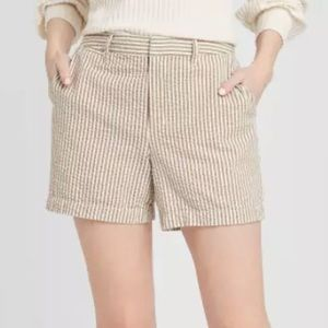 NWT A New Day Striped Chino Shorts Brown White 6